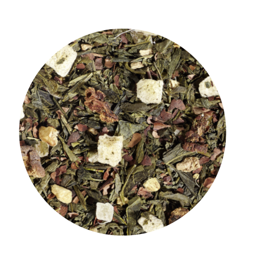 White Christmas (Loose Leaf)  The scent of ripe pears, butter, sugar and sweet chocolate chips all baked together in a mouthwatering cake are bound to awaken the festive spirit. Cocoa peel and candied ginger bits add a sweet, spicy twist to this green tea blend. This tea is the perfect match for any cake buffet.  Ingredients:Green tea (50 %), cocoa peel, ginger cubes (sugar, ginger, acidifying agent: citric acid), pear pieces, ginger pieces, flavoring, freeze-dried pear pieces Add a scoop of homemade whipped cream or froathed milk topping and an extra dash of cinnamon on top, enjoy!  Homemade Whipped Cream Recipe:  2/3 cup heavy cream 1/2 teaspoon pure vanilla extract 2 tablespoons confectioners' sugar Dash of Cinnamon to taste  Whip the heavy cream in the bowl of an electric mixer fitted with the whisk attachment on medium speed until soft peaks form, 2 to 4 minutes. Add the vanilla and confectioners' sugar; continue whipping on medium speed until the soft peaks return, 2 to 3 minutes. Use immediately.  Froathed Milk secret: If you prefer a froathed milk topping here are a few tips we found from our test kitchens  Use skim milk for the fluffiest, creamiest, quickest froathed milk topping. Add a drop or two of vanilla, or almond flavoring before froathing.  Enjoy your Tea!