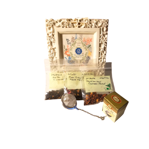 """The Cornucopia's Tea Samples:  Each tea sample set contains 3 teas (1 oz. total in set) with enough tea in each to make 2 cups and a free tea ball for those who may be new to loose leaf tea brewing. Free Shipping on all loose leaf teas  About Cornucopia's Teas: Our sources are backed with 180 years of experience and hold a close relationship with the most renowned tea plantations globally, allowing us to provide top quality teas and tea blends in many varieties by tea masters that hold awards from (Global Tea Championship, North American Tea Champion and World Tea Champions). The Cornucopia Shop LLC has chosen 52 varites from the over 300 teas available in our warehouse and continues to add to the collection each month as we learn our customers interests and favorites.  Black Teas - Organic, Orthodox tea and tea blends sources from the highest quality tea plantations around the globe and are used as the base of our black tea blends.  Half Fermented-Oolong, Oolong is neither black nor green tea it forms a category of it own, half fermented means it processing is stopped before becoming a full oxidized black or green tea. Also differs in shape, are rolled, twisted, or curled into tight balls or stands, a true form of art!  Green Teas- Organic, Matcha Green Tea Powders, Blends Green tea leaves, shortly after being plucked from the tea bush, are steamed briefly to prevent the natural oxidation of the leaf. This """"unfermented"""" leaf remains green in color, and while still soft, is rolled and then dried mechanically or in a pan over heat. Matcha teas are green tea brought down to it's poweder state. High in antioxidents.  White Teas - Organic, only the top unopened buds and two top leaves of the plant with it's delicate silvery down are used and is what gives white tea its characteristic color. Undergoes less processed has less caffeine than green tea. High in antioxidants.  Rooibos Teas - Organic, blends free of caffeine and tunic acid sourced from South Africa only of the"""