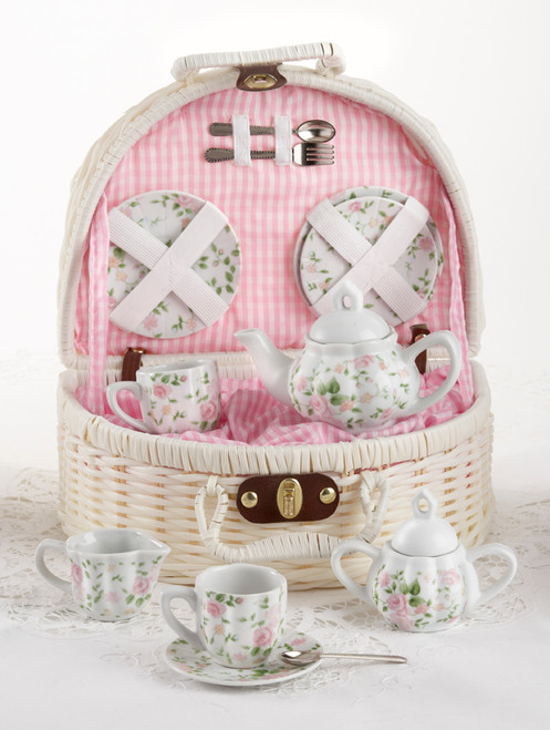 Toy Porcelain Tea Set in Basket- Chintz: It's a tea party set for two! Pink chintz print tea set in a White picnic basket chest with Pink check cloth liner. Perfect activity set for any little girl. By Delton ages 5+ Perfect activity set for any little girl.  1-Teapot, 2-Cup and Saucer, 2-Serving plates, 2 each, Spoon and Fork, 1-Storage Picnic basket.  This set is part of the Cornucopia's Toy Tea party set and comes with additional add ons:  Perfect tea party companion doll by Apple Dumplin Dolls 1 oz (12 tea parties or more) Children's Tea available There is hardly another fruit on this planet which is as popular among young and old as the strawberry. We are, therefore, presenting our particular, decaffeinated, flavored green tea variation. Its mild and, at the same time, intense taste is due to a natural strawberry flavoring, which shines when interacting with the soft tea basis. Ingredients: decaffeinated green tea, freeze-dried strawberry pieces, natural flavoring type strawberry. All choices are shipped together in one box. Gift card enclosure