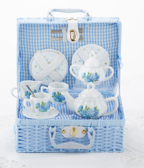 Toy Porcelain Tea Set in Basket- Hydrangea: It's a tea party set for two! Blue floral on white background print tea set in a blue picnic basket with matching check cloth liner. Perfect activity set for any little girl. By Delton ages 5+  1-Teapot, 2-Cup and Saucer, 2-Serving plates, 2 each, Spoon and Fork, 1-Storage Picnic basket.  This set is part of the Cornucopia's Toy Tea party set and comes with additional add ons:  Perfect tea party companion doll by Apple Dumplin Dolls 1 oz (12 tea parties or more) Children's Tea available There is hardly another fruit on this planet which is as popular among young and old as the strawberry. We are, therefore, presenting our particular, decaffeinated, flavored green tea variation. Its mild and, at the same time, intense taste is due to a natural strawberry flavoring, which shines when interacting with the soft tea basis. Ingredients: decaffeinated green tea, freeze-dried strawberry pieces, natural flavoring type strawberry. All choices are shipped together in one box. Gift card enclosure