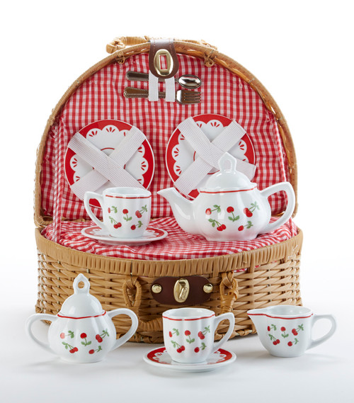 Toy Porcelain Tea Set in Basket-Cherry: It's a tea party set for two! Cherry print tea set in a natural picnic basket with a red check cloth liner. Perfect activity set for any little girl. By Delton ages 5+  1-Teapot, 2-Cup and Saucer, 2-Serving plates, 2 each, Spoon and Fork, 1-Storage Picnic basket.  This set is part of the Cornucopia's Toy Tea party set and comes with additional add ons:  Perfect tea party companion doll by Apple Dumplin Dolls 1 oz (12 tea parties or more) Children's Tea available There is hardly another fruit on this planet which is as popular among young and old as the strawberry. We are, therefore, presenting our particular, decaffeinated, flavored green tea variation. Its mild and, at the same time, intense taste is due to a natural strawberry flavoring, which shines when interacting with the soft tea basis. Ingredients: decaffeinated green tea, freeze-dried strawberry pieces, natural flavoring type strawberry. All choices are shipped together in one box. Gift card enclosure