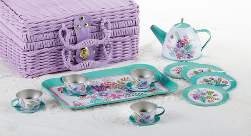 Toy Tin 15 Pc Tea Set in Basket - Fern: It's a tea party set for four! Comes in the sweetest purple picnic baskets with a full tea party services for four. Perfect activity set, to keep them busy. By Delton  1-Teapot, 1-Service tray, 4-Cup and Saucer, 4-Serving plates, 4-spoona in fabric pouch 1-Storage Picnic basket. Ages 3 +  This set is part of the Cornucopia's Toy Tea party set and comes with additional add on:  Perfect tea party companion doll by Apple Dumplin Dolls 1 oz (12 tea parties or more) Children's Tea available There is hardly another fruit on this planet which is as popular among young and old as the strawberry. We are, therefore, presenting our particular, decaffeinated, flavored green tea variation. Its mild and, at the same time, intense taste is due to a natural strawberry flavoring, which shines when interacting with the soft tea basis. Ingredients: decaffeinated green tea, freeze-dried strawberry pieces, natural flavoring type strawberry. All choices are shipped together in one box. Gift card enclosure