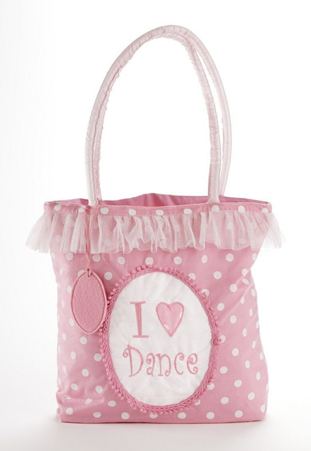 "I love Dance"" ballet carry-all bag 12 x 11 "" D6001-0  This carry-all bag is just what she needs to use as a dance class bag, an overnight bag, or doll and toy carrier.    Includes:  1- 12"" x 11"" carry-all bag    Included in ""Build a gift Set"" collection see Dolls WH4098-8 Apple Dumplin Ballerina Doll or D1113-6 Twinkle Pink Ballet Bunny   Enclosure Card"