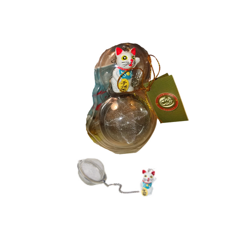 """Tea Ball """"Lucky Cat"""", stainless steel, diam. approx. 2.0"""" allows you to brew your loose leaf tea. Perfect size for Tea by the cup, Tea for one sets, Mugs, and 2 cup teapots.  How to Use:  Fill with 1 1/2 Teaspoon of your favorite Cornucopia Loose Leaf Tea and use just as you would a teabag. Allow to sit in the water for a moment or two and then dip it in and out of the tea cup, or pot to release the tea flavors and it reaches your desired color or strength of tea. Remove and place on a tea saucer, teabag holder or if included the tea ball rest."""