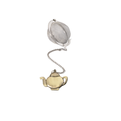 """Tea ball bronzed figure - teapot stainless steel, diam. approx. 2.0"""" allows you to brew your loose leaf tea. Perfect size for Tea by the cup, Tea for one sets, Mugs, and 2 cup teapots.  How to Use:  Fill with 1 1/2 Teaspoon of your favorite Cornucopia Loose Leaf Tea and use just as you would a teabag. Allow to sit in the water for a moment or two and then dip it in and out of the tea cup, or pot to release the tea flavors and it reaches your desired color or strength of tea. Remove and place on a tea saucer, teabag holder or if included the tea ball rest."""