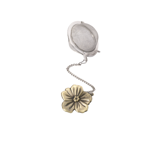 """Tea ball bronzed figure - flower stainless steel, diam. approx. 2.0"""" allows you to brew your loose leaf tea. Perfect size for Tea by the cup, Tea for one sets, Mugs, and 2 cup teapots.  How to Use:  Fill with 1 1/2 Teaspoon of your favorite Cornucopia Loose Leaf Tea and use just as you would a teabag. Allow to sit in the water for a moment or two and then dip it in and out of the tea cup, or pot to release the tea flavors and it reaches your desired color or strength of tea. Remove and place on a tea saucer, teabag holder or if included the tea ball rest."""