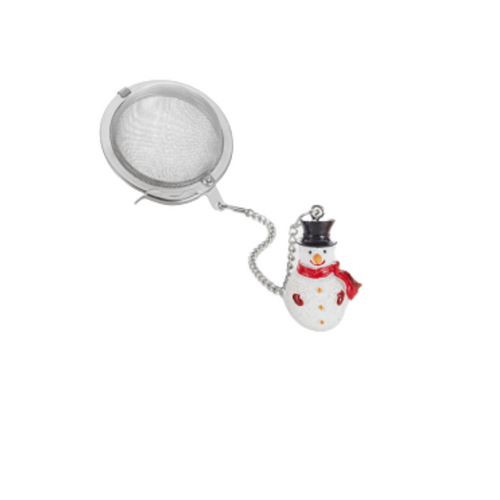 """Tea ball """"Snowman"""" stainless steel, diam. approx. 2.0"""" allows you to brew your loose leaf tea. Perfect size for Tea by the cup, Tea for one sets, Mugs, and 2 cup teapots.  How to Use:  Fill with 1 1/2 Teaspoon of your favorite Cornucopia Loose Leaf Tea and use just as you would a teabag. Allow to sit in the water for a moment or two and then dip it in and out of the tea cup, or pot to release the tea flavors and it reaches your desired color or strength of tea. Remove and place on a tea saucer, teabag holder or if included the tea ball rest."""