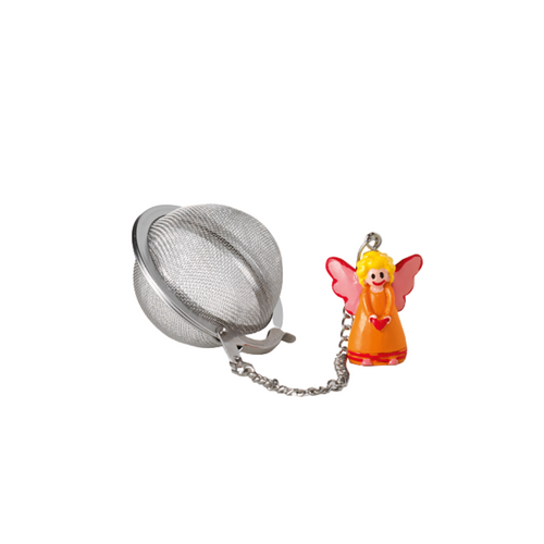 """Tea ball """"Angel"""" stainless steel, diam. approx. 2.0"""" allows you to brew your loose leaf tea. Perfect size for Tea by the cup, Tea for one sets, Mugs, and 2 cup teapots.  How to Use:  Fill with 1 1/2 Teaspoon of your favorite Cornucopia Loose Leaf Tea and use just as you would a teabag. Allow to sit in the water for a moment or two and then dip it in and out of the tea cup, or pot to release the tea flavors and it reaches your desired color or strength of tea. Remove and place on a tea saucer, teabag holder or if included the tea ball rest."""