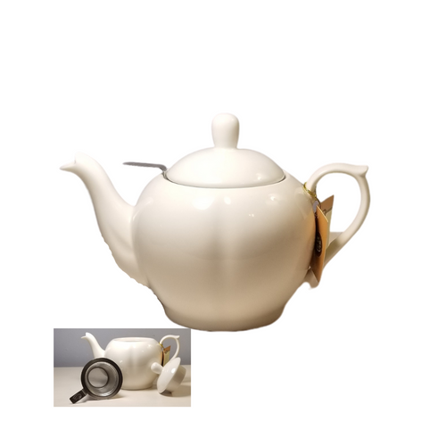 "Teapot ""Riviera"" White porcelain 11.8 fl. oz., This Teapot is just the right size for tea for one and big enough to provide more than a cup of tea per sitting.  Smooth details in the body of the teapot and spout give a touch of fancy with simplicity all in one.  Comes with it's own drop-in filter which is easy to use and of high quality stainless steel.  Gifting Idea: birthday gift, bridal shower, get well, treat yourself or someone you love.   Includes:  Teapot white porcelain 11.8 fl. oz  Cha Cult drop-in stainless steel tea strainer  Dishwasher safe Gift box  Other Items Available:  Tea choices available to add to your order in the loose-leaf shop   Teas and Teaware are shipped together, Cornucopia Teas come in resealable pouches with decorative tea labels, and includes a brewing guide. If purchasing as a gift your personal message is included on the pamphlet."