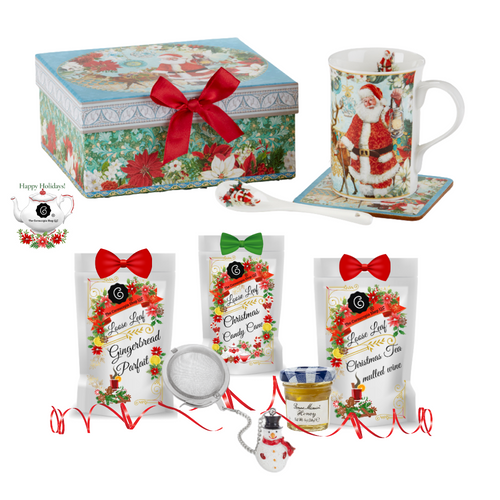 "Santa Boxed Mug Coaster Spoon Set Woodland w/Christmas Tea- gift Set: will brighten anyone's holiday in its own matching print gift box with matching satin ribbon. The matching coaster is perfect for any spot you leave your cup and the porcelian teaspoon makes tea time all the more special.  Three Christmas teas for an extra joyous gift this season.   Includes:  4.9""  Porcelain Mug in gift box- Woodland  Matching Coaster  Matching Porcelian Teaspoon  Christmas Santa and Friends print  Dishwasher safe 3-1 oz. 12 cups Cornucopia Christmas Tea favorites, Gingerbread Parfait, Candy Cane, Christmas Mulled Wine  Candy Cane: We have captured the unmistakable taste of this well-loved candy in this unique tea blend, underlining it with an intense sweetness and rounding it off with a touch of peppermint. The bright red currants are a real eye-catcher and deliver a perfect performance.  Ingredients: apple pieces, pineapple cubes (pineapple, sugar), natural flavoring, marshmallows (glucose-fructose syrup, sugar, water, gelatin, corn starch, natural flavoring), whole star aniseed, freeze-dried whole red currants, peppermint, pink cornflower blossoms. Mulled Wine: This tea blend is a real taste explosion thanks to the exceptional flavor composition of the incredibly unique German version. What makes this blend so special: the traditional flamed cone sugar, which slowly melts into delicious caramel.  Pure exaltation!  Ingredients: apple pieces, hibiscus blossoms, elderberries, rose hip peel, Mistletoe, cinnamon rods, flavoring celery seed oil, orange slices, cloves. Gingerbread Parfait: Black tea Spicy, sweet gingerbread and fruity, lively mandarins are a must for anyone who loves the enticing scents of wintry spices and Christmas preparations. Ingredients: (43%), apple pieces, half-fermented tea (8%), flavoring, cinnamon pieces, freeze-dried yoghurt granules (skimmed milk yogurt, sugar, maltodextrin, modified starch, acidifying agent: citric acid), sliced almonds, mandarin sections, whole star aniseed, cardamom (whole), cinnamon rods, Contains almond and milk   1- Mini 1 oz. Bonne Maman Honey  1  Snowman Tea ball, made in Germany by Cha Cult Cornucopia Teas come in resealable pouches with decorative tea labels, and includes a recipe and brewing guide. If purchasing as a gift, your personal message is included on the pamphlet."