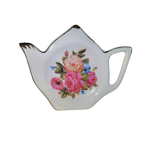 Tea Bag Holder -Sandra's, Rose Bone China  by Grace Teaware:  A place set your tea bag, tea ball, or spoon in sweet style.  It is important to pamper yourself and okay to feel special, treat yourself!  Includes:  1 Rose print with gold trim, Bone China, Tea Bag Holder