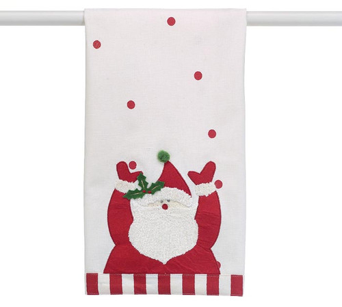 Tea Towel - Santa Claus: White tea towel with red polka dots and Santa with his hands up. His beard and cuffs are made of chenille yarn and body and holy trim is felt with a green pompom, a red and white stripe cloth band on the bottom edge. Body 100% cotton Applique 100% Polyester. by Burton and Burton