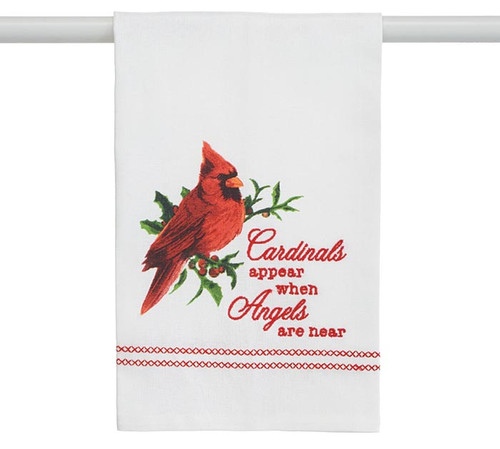 """Tea Towel - Cardinals Appear (slightly irregular stighing at hemline): White tea towel with a cardinal and the embroidered message """" Cardinals appear when angels are near """" 100% cotton by Burton and Burton   Note: (slightly irregular stitching at hemline), Will not show when folded and hung."""