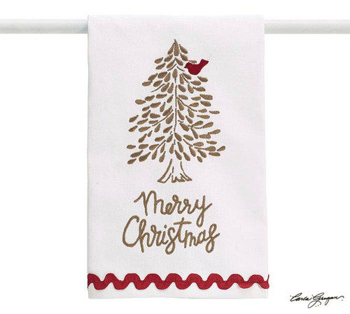 Towel - Heaven and Nature Sing: Merry Christmas white tea towel with tree and red bird design and also has embroidered red rick rac across the bottom. 100% cotton by Burton and Burton