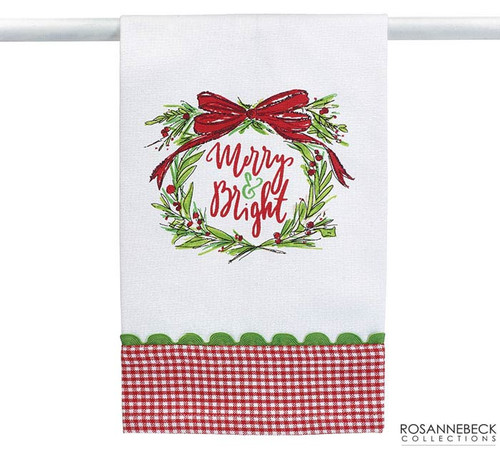 "Tea Towel - Merry and Bright: White tea towel with screen printed ""Merry & Bright"" message inside a wreath. 100% cotton by Burton and Burton"