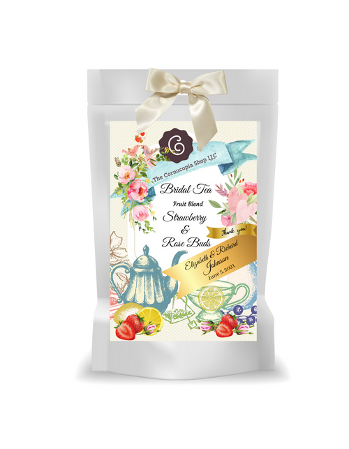Bridal Tea - Strawberry Rose - Fruit Tea (Loose Leaf)  This rosy fruit tea blend gets its charming color from many pink rose buds and leaves, pink and red fruit pieces and purple pearls. All these are wonderfully displayed on a bed of apple and pineapple cubes. The taste is influenced by an artful combination of sweet, fruity, fresh and fully flavored notes of red fruits. Beautiful and delicious ═ to fall in love with!  Ingredients: apple pieces, pineapple cubes (pineapple, sugar), elderberries, flavoring, hibiscus blossoms, rose petals, pink rosebuds, Black salsify pearls (glucose syrup, concentrated black salsify juice, sugar, citrus fiber, gelling agent: sodium alginate), freeze-dried strawberry pieces, pink rose petals, freeze-dried sour cherry pieces, freeze-dried cranberry slices  Brewing:   10-12 minutes  203-212 °F  1-2 level tsp./ 6 oz serving