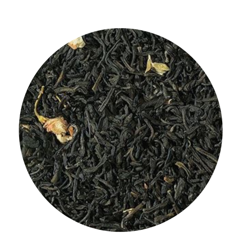 Jasmine Blossoms Green Tea (Loose Leaf)  In China whole green leaf teas are traditionally scented with Jasmine flowers placed in layers within. The petals are harvested during the day and stored cool at night in order to bloom and unfold their full fragrance. According to the desired quality grades the petals are sifted out after processing. For this reason teas vary from light to stronger delicate floral flavors and tastes. Subject to global limited availability.   Taste: The cup has a light, slightly yellow color and already spreads the intense bouquet of jasmine.