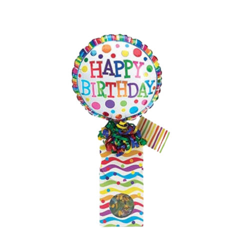 """Birthday Celebration Balloon Dots Candy Bouquet!  Sometimes a little can say so much and make their special day just a bit more special knowing you thought of them. Send a smile today, send this birthday giftable.  Includes heavy paperboard candy box filled with name brand candy, Happy Birthday 9"""" air-filled balloon, ribbon curls, and your personal message on a gift card."""