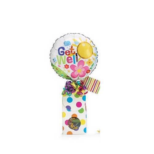 """Get Well Balloon Candy Bouquet:  Sometimes a little can say so much and make their day a little brighter knowing you thought of them. Send a smile today, send this get well giftable.  Includes heavy paperboard candy box filled with name brand candy, Get Well 9"""" air-filled balloon, ribbon curls, and your personal message on a gift card."""