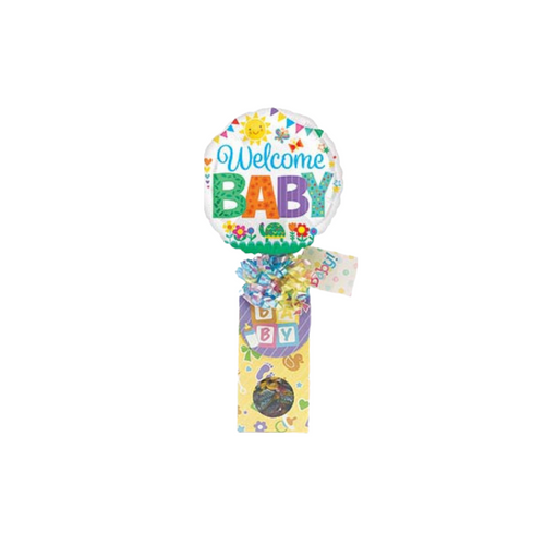 """Welcome Baby Balloon Candy Bouquet  Sometimes a little can say so much and show you are sharing in their joy of their new little bundle. It's a happy time to celebrate!  Includes heavy paperboard candy box filled with a mix of name brand candy such as Starburst, SweetTarts, Tootsie Roll, Jolly Rancher, Skittles, Nerds, LaffyTaffy or Tootsie Fruit Chews. Mix may vary in each gift, Welcome Baby 9"""" air-filled balloon, ribbon curls, and your personal message on a gift card."""