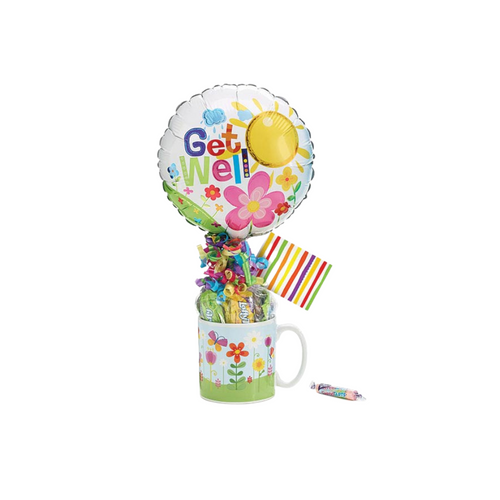 "Get Well Balloon Candy Mug Bouquet  Make their day a little brighter knowing you thought of them.  Send a smile today, send this get well giftable.   Includes Happy flowers print Ceramic mug, 9"" air-filled Get Well balloon, a mix of name brand candy such as Starburst, SweetTarts, Tootsie Roll, Jolly Rancher, Skittles, Nerds, LaffyTaffy or Tootsie Fruit Chews. Mix may vary in each gift. ribbon curls, cellophane wrap, and card."