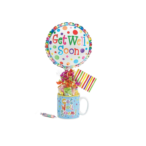 """Get Well Soon Balloon Candy Mug Bouquet  Make their day a little brighter knowing you thought of them. Send a smile today, send this get well giftable.  Includes Get Well Soon print Ceramic mug, 9"""" air-filled Get Well Soon balloon, wrapped branded candy, ribbon curls, and gift card."""
