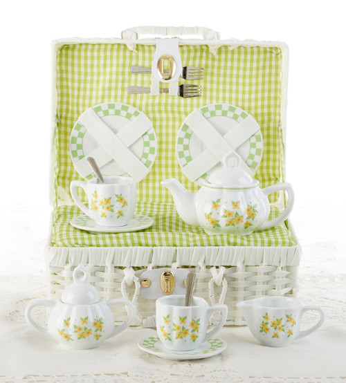 Toy Porcelain Tea Set in Basket- Yellow Sue: It's a tea party set for two!  A yellow floral print tea set in a white picnic basket chest with lime green check cloth liner. Perfect activity set for any little girl. By Delton Ages 5 +  1-Teapot, 2-Cup and Saucer, 2-Serving plates, 2 each, Spoon and Fork, 1-Storage Picnic basket.  This set is part of the Cornucopia's Toy Tea party set and comes with additional add ons:  Perfect tea party companion doll by Apple Dumplin Dolls 1 oz (12 tea parties or more) Children's Tea available There is hardly another fruit on this planet which is as popular among young and old as the strawberry. We are, therefore, presenting our particular, decaffeinated, flavored green tea variation. Its mild and, at the same time, intense taste is due to a natural strawberry flavoring, which shines when interacting with the soft tea basis. Ingredients: decaffeinated green tea, freeze-dried strawberry pieces, natural flavoring type strawberry. All choices are shipped together in one box. Gift card enclosure