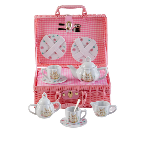 Toy Porcelain Tea Set in Basket-Bunny: It's a tea party set for two!  A Bunny print tea set in a pink picnic basket chest with pink check cloth liner. Perfect activity set for any little girl. By Delton Ages 5 +  Perfect Easter Gfit   1-Teapot, 2-Cup and Saucer, 2-Serving plates, 2 each, Spoon and Fork, 1-Storage Picnic basket.  This set is part of the Cornucopia's Toy Tea party set and comes with additional add ons:  Perfect tea party companion doll by Apple Dumplin Dolls 1 oz (12 tea parties or more) Children's Tea available There is hardly another fruit on this planet which is as popular among young and old as the strawberry. We are, therefore, presenting our particular, decaffeinated, flavored green tea variation. Its mild and, at the same time, intense taste is due to a natural strawberry flavoring, which shines when interacting with the soft tea basis. Ingredients: decaffeinated green tea, freeze-dried strawberry pieces, natural flavoring type strawberry. All choices are shipped together in one box. Gift card enclosure