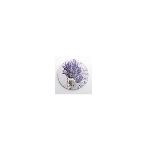 "French Country Trivet,  In shades of lavender, versatile for a fancy dinner table or everyday kitchen counter use. 7"" ceramic round trivet. 1/4 inch thick, cork backing. Use anywhere to protect table or counter tops."