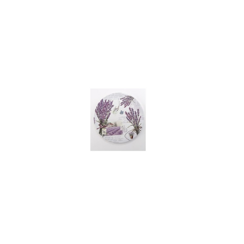"""French Country Trivet, In shades of lavender, versatile for a fancy dinner table or everyday kitchen counter use. 7"""" ceramic round trivet. 1/4 inch thick, cork backing. Use anywhere to protect table or counter tops."""