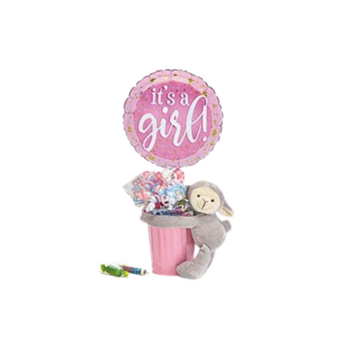 """Baby Girl plush giftable Balloon Bouquet  Includes  tin container, plush, 9"""" air-filled balloon, a mix of name brand candy such as Starburst, SweetTarts, Tootsie Roll, Jolly Rancher, Skittles, Nerds, LaffyTaffy or Tootsie Fruit Chews. Mix may vary in each gift. ribbon curls, cellophane wrap, and card."""