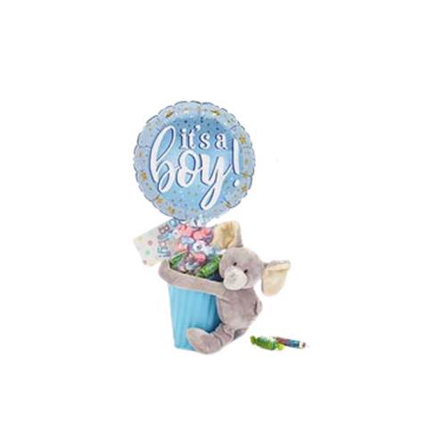 """Baby Boy Plush Welcome Balloon Bouquet  Includes  tin container, plush, 9"""" air-filled balloon, a mix of name brand candy such as Starburst, SweetTarts, Tootsie Roll, Jolly Rancher Skittles, Nerds, LaffyTaffy or Tootsie Fruit Chews. Mix may vary in each gift. ribbon curls, cellophane gift wrap, and card. ribbon curls, cellophane wrap, and card."""