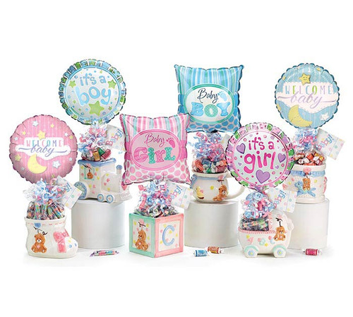 """Welcome Baby Balloon Bouquet - Assorted/ceramic planter: An adorable keepsake in six choices and can be put to good use in the nursery as an essential container, planter, or catch all long after the treat is gone.  giftable assortment includes:  ceramic container, 9"""" air-filled balloon, a mix of name brand candy such as Starburst, SweetTarts, Tootsie Roll, Jolly Rancher Skittles, Nerds, LaffyTaffy or Tootsie Fruit Chews. Mix may vary in each gift. ribbon curls, cellophane gift wrap, and card."""