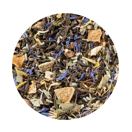 Black Tea - w/Essentail Oil -Lavender Lime Mint  Blue lavender blossoms, green mint leaves and yellow-orange lemon peel on our mild black tea is the perfect base for a pleasing taste creation with fresh, floral and fruity notes. Enhanced by our pure essential oils made from sun-ripened limes, fresh peppermint and a hint of eucalyptus, this is a real taste indulgence whose scent will invigorate your senses.  Ingredient: black tea (65%)*, lavender blossoms (8%)*, eucalyptus leaves*, orange peel*, Peppermint*, lemon peel*, moringa leaves*, cornflower blossoms*, marigold blossoms*, lime oil*, Peppermint oil*, eucalyptus oil*,  (* from organic cultivation)