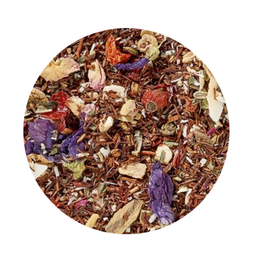 Rooibos w/Essential Oils - Orange Coconut Mint (Organic - Loose Leaf)  The perfect combination of organic ingredients and pure essential oils of ripe oranges and fresh peppermint harmoniously rounds off this tea. Bright rose and mallow blossoms make sure the optic of this creation is a real delight.  Taste: The soft sound of the sea, the scent of sun-ripened, juicy oranges, sweetly mild coconuts and refreshing peppermint will put you on a wave of happiness.  Ingredient: Rooibos tea*, rose hip peel*, ginger bits*, coconut chips* (8%), liquorice roots*, fennel*, aniseed*, orange peel*, roasted coconut flakes* (3%), Peppermint*, rose petals*, orange oil*, mallow blossoms*, Peppermint oil*, * from organic cultivation. (*from organic cultivations)  Brewing: Important: Always brew with boiling water to obtain a safe beverage!  8-10 minutes  203-212 °F  1-2 level tsp./ 6 oz serving