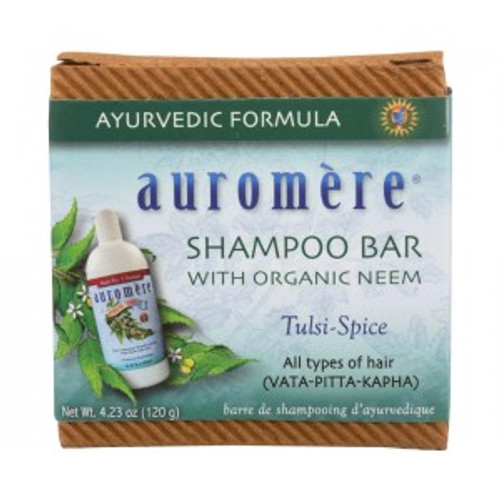 Auromere Shampoo Bar w/ Organic Neem (Tulsi-Spice)  This All-in-One Shampoo Bar is formulated with premier Ayurvedic herbs and oils beneficial for cleansing and rejuvenating the hair and scalp, including Coconut Oil, Neem, Shikakai, Henna, and others. It can also be used as a hand soap, full body wash, and even has a nice lather for smooth shaving. Perfect for travel, camping, gym, and other on-the-go situations. Suitable for all hair types (VATA-PITTA-KAPHA).  Eco-friendly, Zero-waste, 100% Biodegradable packaging Vegan / Cruelty-free Non-GMO Sulfate-free Gluten-free Vegan Paraben-free Palm-free No artificial fragrances, preservatives, dyes, or bleaches. Better for the environment – a Zero-Waste shampoo solution. Apart from their ingredients, they are also better for the environment due to their lack of plastic packaging in comparison to bottled shampoo. More practical and convenient. Shampoo bars can be easily tucked away into a backpack, car or flight luggage when at the gym, camping, traveling or for contingencies. When camping or traveling (or at the gym), shampoo bars can be used as a 2-in-1 shampoo and body soap, saving time and space.  Ingredients:Coconut oil, Sunflower oil, Purified water, Alkali, Castor oil, Sesame oil, Tulsi (Holy Basil) oil, Vitamin E (certified non-GMO), Neem oil, Hydnocarpus (Cactus) oil, Neem leaf, Reetha (Indian Filbert/Soapnut), Shikakai (Acacia concinna), Henna (Lawsonia inermis), Amla (Indian Gooseberry) and Methi (Fenugreek).