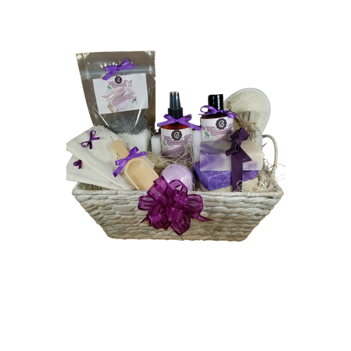 "French Lavender – Luxury Spa Gift Basket by The Cornucopia Shop LLC Our Bath Soaks are made of the highest quality ingredients of botanicals, Teas, Essential Oils, Dead Sea Bath Salts, Epsom Bath Salts, & Pink Himalayan Salts. Aromatherapy to lift and rejuvenate the mind.  Our line includes Hand Crafted Cold Press Soaps, Body Lotions and Perfume Body Sprays, and Luxury Bath Bombs to sooth, soften and re-fresh. Dried Botanical Lingerie Sachet to scent a drawer.    include: Botanical Bath Soak, Body lotion, Body Spray, Bath Salt Scoop, Lavender Drawer Sachet, reusable Linen Tub Tea Bags, (keeps your tub clean of botanicals and teas for easy clean up) Bath Bomb, a Loofah & Terry Bath Pad and 3 complimentary scented Cold Press Soaps, Lavender Vanilla body lotion and perfume spray.    Includes:   1- 4 oz Lavender Bath Salts all-natural no dyes Super Lavender origin France 1- 8 oz Lavender Vanilla Body Lotion 1- 8 oz. Lavender Vanilla Body Spray 1-.05 oz Super Lavender Drawer Sachet 2- Linen Bath Tea Bags (re-usable) hand wash 1- Wooden Bath Salt Scoop  1- Loofah & Terry Cloth reversible Wash Pad with Wrist Band 5 oz 2 1/2 "", Lavender Petals Bath Bomb 3 Cold Press Bar Soaps, 1 Oak Moss Lavender Scrub, Ylang Ylang & Lavender Lavender Lemongrass  Gift comes shrink wrapped in reusable whitewashed natural fiber basket with handles, natural fiber fill, decorative gift bow, and enclosure gift card.  Key Ingredients:  Bath Salt: Organic Lavender- Super French, Epsom Salts, Lavendar Essentail Oil.  Body lotion:Water, Blend of (Coconut Oil, Hempseed Oil, Sunflower Oil, Vitamin E, Mineral Oil), Propylene Glycol, Stearic Acid, Cetyl Alcohol, Phenoxyethanol, Ethylhexylglycerin, Glyceryl Stearate, Petrolatum, TEA 99%, Proprietary Fragrance and Essential Oil Blend, Dimethicone, Carbopol, Disodium EDTA, Allantoin, Aloe Vera Gel.  Perfume Spray:Water, Ploysorbate 20, Fragrance,,DMDM Hydntoin, Disodium EDTA  Cold Press Soaps: Olive Oil, Soybean Oil, Coconut Oil, Corn Oil. Sunflower Oil, Organic Shea Butter, Water. Sodium Hydroxide (Lye), Fragrance INCI: Olea Europaea (Olive) Oil, Glycine Soja (Soybean) Oil, Cocos Nucifera (Coconut) Oil, Zea Mays (Corn) Oil, Helianthus Annuus (Sunflower) Seed Oil, Butyrospermum Parkii (Shea Butter), Aqua, Sodium Hydroxide, Fragrance. May contain FD&C color. Please note that due to the handmade nature of this soap, color shades and swirl styles may slightly vary. Each loaf and bar is unique!"