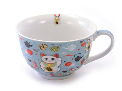 """Lucky Cat Jumbo Cup - Gift boxed - jumbo cup 11.5 oz, perfect for latte or cappuccino lovers.Gift Set Includes:  Jumbo """"Lucky Cat """" 11.5 oz - by Cha Cult, porcelain oversized cup perfect for latte drinkers or cappiccino lovers.  Coordinated Accessory Available:  Lucky Cat 2"""" stainless steal Tea ball infuser by Cha Cult (Germany) also available 41841 Gift Set SDB31606"""