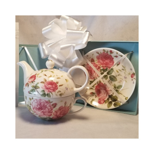 English Rose Teapot Duo is a nested Teapot, cup and saucer set comes in a beautiful pastel blue satin lined gift box. A lovely way to great the day with a morning cup of tea! This nested set allows a second cup ready to serve. A Bloggers favorite!