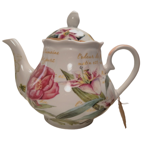 Daylily Dreaming Teapot: 16 oz. by Kent pottery Teapot. Porcelain, White with Daylily floral print in shades of pink. Dishwasher and microwave safe.