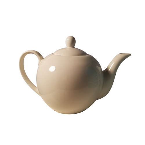 White Teapot: 4 cup teapot, porcelain slim handle.   This white teapot can be used with any decorative cup and saucer set found in the cupboard.   Includes:  4 cup teapot, White porcelain