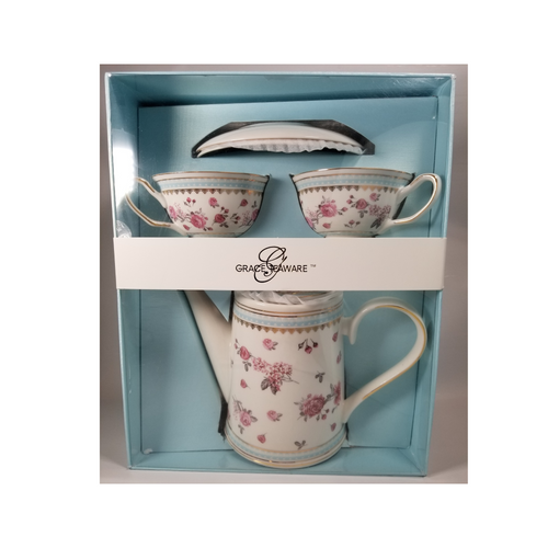 "Grace Teaware Gift Boxed Tea Set: 6pc porcelain Grace Tea set in a Rose spray pattern with matching 2 service cup and saucer.  Comes nicely packaged in a gift box as shown.  Great collector starter set or addition, if you love Grace Teaware this soft pink rose pattern with blue dot and gold trim will be enjoyed for years to come.   Gifting Idea: birthday, bridal shower, or Mother's Day.  treat yourself or someone you love!   Includes:  6 pc gift boxed porcelain tea set by Grace Teaware 1-Teapot   2 - cup/saucer Soft white background with rose print, gold and blue trims Dishwasher safe   Gift box is 12"" x 10"" x 6"" in a light blue gift box with Grace Teaware band and white satin gift bow.  Enclosure card is tucked inside the gift."