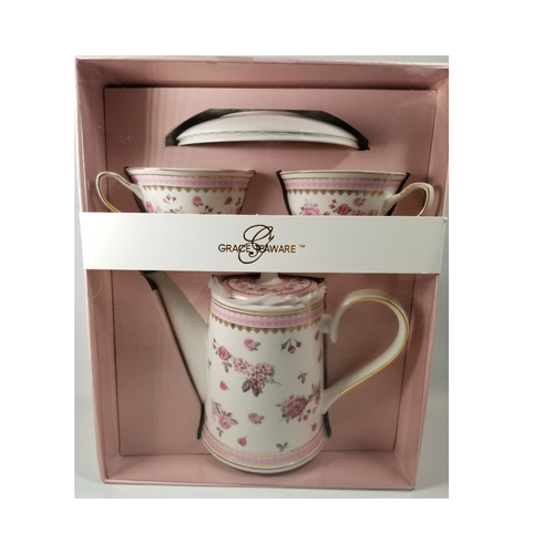 "Grace Teaware Gift Boxed Tea Set: 6pc porcelain Grace Teaware tea set in a Rose spray pattern with matching 2 service cup and saucer.  Comes nicely packaged in a gift box as shown.  Great collector starter set or addition, if you love Grace Teaware this soft pink rose pattern with pink and gold trim will be enjoyed for years to come.   Gifting Idea: birthday, bridal shower, or Mother's Day.  treat yourself or someone you love!   Includes:  6 pc gift boxed porcelain tea set by Grace Teaware 1-Teapot   2 - cup/saucer Soft white background with rose print, gold and pink trims Dishwasher safe   Gift box is 12"" x 10"" x 6"" in a light pink gift box with Grace Teaware band and white satin gift bow.  Enclosure card is tucked inside the gift."