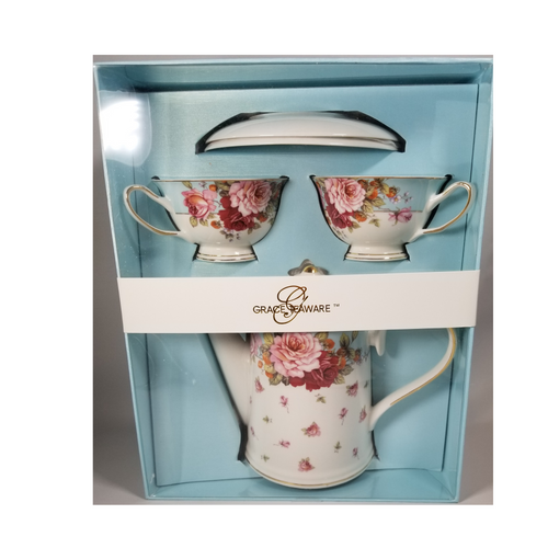 """Grace Teaware Rose Bouquet Tea Set Gift Boxed 6pc porcelain Grace Tea set in a Rose bouquet band and rose spray pattern with matching 2 service cup and saucer. Comes nicely packaged in a gift box as shown. Great collector starter set or addition, if you love Grace Teaware this soft pink rose pattern with blue dot and gold trim will be enjoyed for years to come. Gifting Idea: birthday, bridal shower, or Mother's Day. treat yourself or someone you love!  Includes:  6 pc gift boxed porcelain tea set by Grace Teaware 1-Teapot 2 - cup/saucer Soft white background with rose print, gold and blue trims and large rose bouquet teapot band and on each tea cup. Dishwasher safe  Gift box is 12"""" x 10"""" x 6"""" in a light blue gift box with Grace Teaware band and white satin gift bow. Enclosure card is tucked inside the gift."""