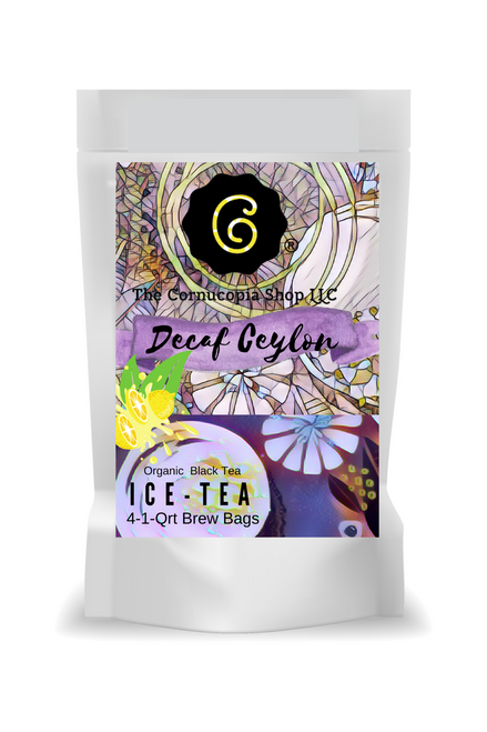 Decaffeinated Ceylon Ice - Qrt Brew Bags  Decaffeinated Ceylon Ice is a rich, Sri Lankan black iced tea that is 98% caffeine-free. Each package contains a total of 4 one-quart brew bags  Ingredients: Decaffeinated Black Tea, Sri Lanka  Taste: Decaffeinated Ceylon Ice offers a chracteristic robust, rounded flavor profile, but without the caffeine.  Brewing: Bring water to a boil (203-212 °F). Prepair a heat proof 1 quart container by placing one - quart filter bag in the container. For sweet tea add 1/4 cup of sugar. Pour hot water into the container and set aside. Allow tea to brew until the desired strength is reached. Let cool prior to pouring over ice in a glass or pitcher, or chill in the refrigerator for later use.  Add lemon slices, orange slices, fresh mint or spearmint for a wonderful all year refreshing drink. Better than pop!