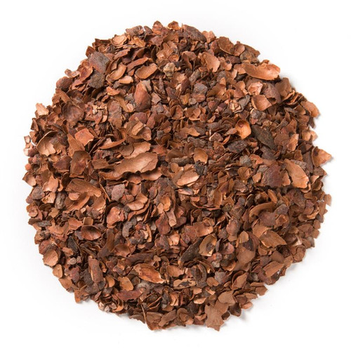Cacao Bliss (Loose Leaf) is made up of rich, organic cacao shells, the outer part of the cacao bean. This is a caffeine-free blend in general, but since chocolate and cacao alike contain very minor natural stimulants like theobromine, it is labeled as caffeinated from a FDA food labeling standpoint.  Ingredients: Organic cacao shells. Cacao shells are packed with antioxidants, amino acids, magnesium, iron, and zinc.  Taste: offers the deeply layered flavor of dark chocolate.  Origin: Originally, cacao shells were viewed as a waste product of chocolate form the cacao bean. Recently, cacao shells have been found to make a great cup of tea thanks to its delicious taste and presumed health benefits.  Enjoy as you would any loose leaf tea, or blend with your favorite loose leaf tea to add a chocolatey dilightful new flavor!  Brewing:  Bring fresh, filtered water to a boil. Add 2 grams of tea to a infuser, or straight into an 8-oz. mug. Pour the heated water into the mug. Steep for 5-7 minutes. Strain tea leaves, or take out the infuser. Sip and enjoy organic tea.