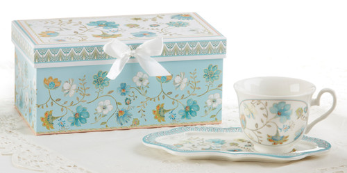 """Blue Romance Tea and Toast Set in Gift Box: Enjoy your morning breakfast or afternoon tea and snack on this pretty set. A pleasant way to create a moment of indulgence. Add one of our specialty loose leaf teas and cuddle up with a good book, sounds invigting to whisk your cares away. Meant for everyday use. Comes in its own matching print gift box with matching satin ribbon. Great Gift Idea: New Mommy, Birthday, get well, thank you.  Includes:  4.2"""" x 9"""" tray Porcelain Teacup Soft white background with Blue Romance pattern in teal, greens and white floral print Dishwasher safe  Other Items Available:  Gift Set, Pamper me Gift Box: wonderful for New Mom, Bridal, Specail someone see SKU:GSD97421 Tea choices available to add to your order in the loose-leaf shop Teas and Teaware are shipped together, Cornucopia Teas come in resealable pouches with decorative tea labels, and includes a recipe and brewing guide. If purchasing as a gift your personal message is included on the pamphlet."""