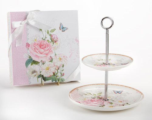 """2-Tier Dessert Stand in Gift Box, Rose: A versatile pattern to add to any floral pattern, a pretty addition to your tabletop setting. Ideal for a bridal shower, tea party, friends gathering, for a touch of whimsy romantic floral display. Comes in a lovely matching print storage gift box with satin bow. Assembly required.  11"""" Porcelain 2 tierhand wash"""