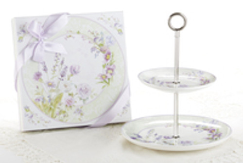 """2-Tier Dessert Stand in Gift Box, Lavender Rose: A versatile pattern to add to any floral pattern, a pretty addition to your tabletop setting. Ideal for a bridal shower, tea party, friends gathering, for a touch of whimsy romantic floral display.   Comes in a lovely matching print storage gift box with satin bow. Assembly required.  11"""" Porcelain 2 tierhand wash"""