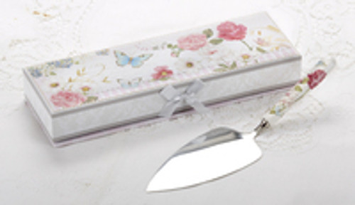 Cake Server Porcelain in Gift Box, Whisical Floral Garden: A versatile pattern to add to any floral pattern, a pretty addition to your tabletop setting. Ideal for a bridal shower, tea party, friends gathering, for a touch of whimsy romantic floral display.  11.2: Porcelain Cake Server in Gift Box, handwash, in a lovely matching print storage gift box with satin bow.